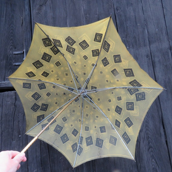 Vintage 60s 70s UMBRELLA ABSTRACT Retro Green