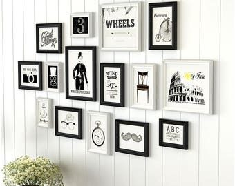 15 Pieces One Set Of Different Size Solid Wood Picture Photo Frame Set  Black And White Mixed Wall Hanging Picture Frame Set Home Decor