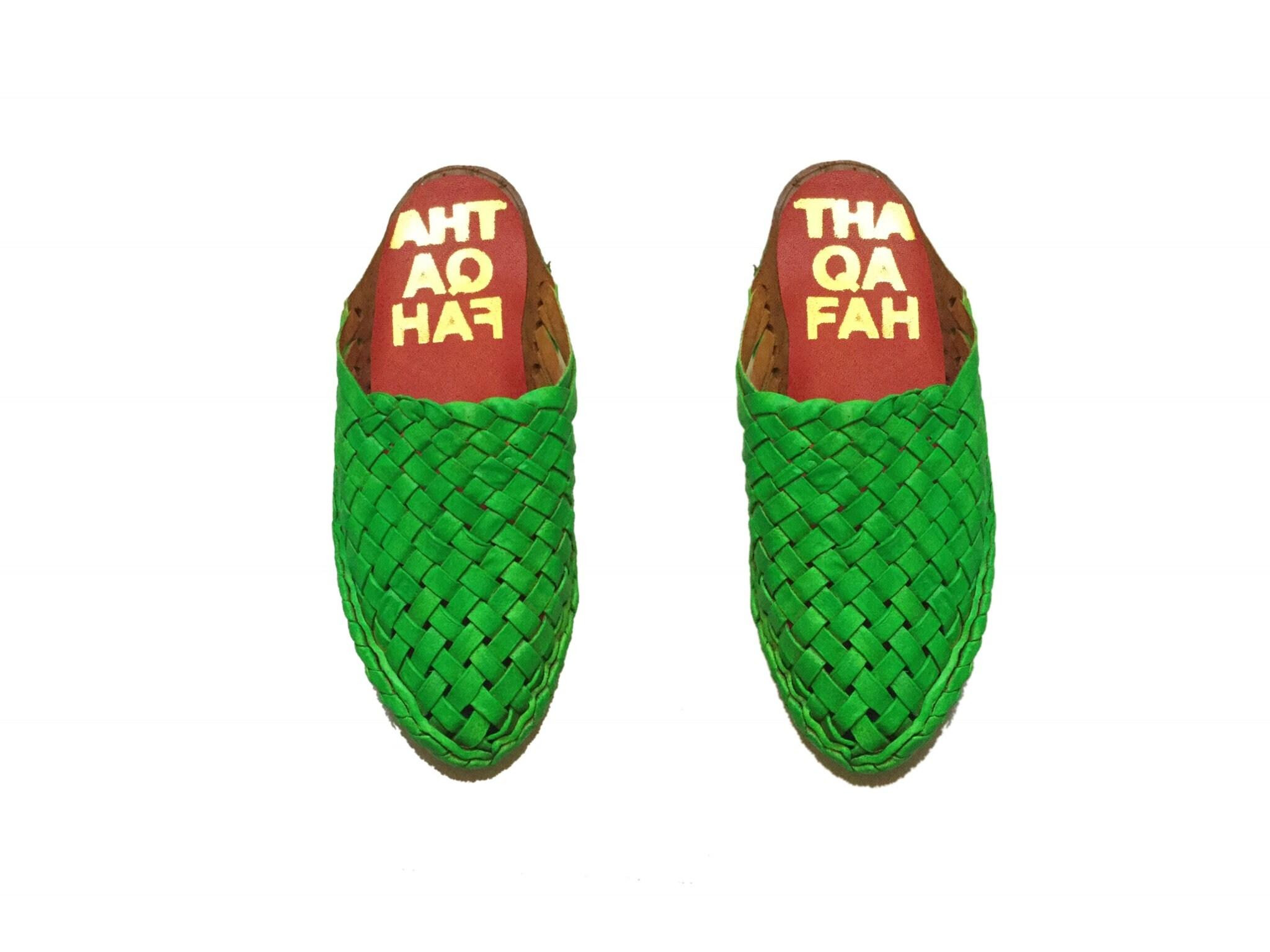 thaqafah, les mules, babouche en en en cuir vert, chaussures de marche, les chaussures, les mulets 12ea2c