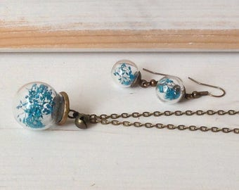 Turquoise sets with real dried flowers, necklace more earrings, necklace balance, necklace calm, necklace relaxation