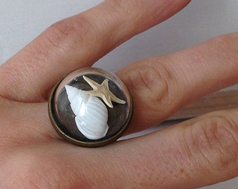 Starfish and shell Adjustable ring