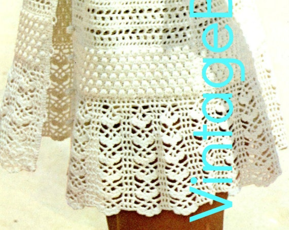 Baby Doll Mini Dress • CoverUp Crochet PATTERN 1970s Sizes 10 - 16 sizes Beach Sexy Summer Holiday Lacy Jacket • Watermarked PDF Only