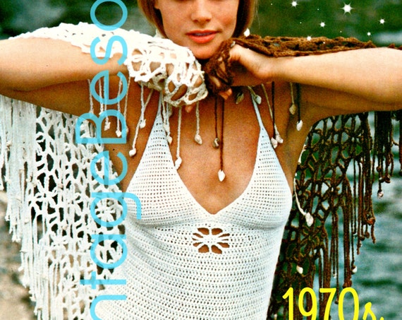 2 PATTERNS Ladies Swimsuit Crochet Pattern 70s Maillot Womens One Piece Bathing Suit Flower Cut Out Pattern - Instant Download - PDF Pattern