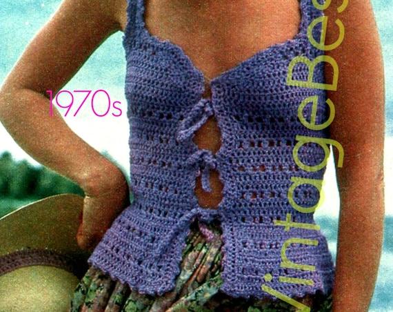 Top Crochet Pattern • 1970s Vest Crochet Pattern • Boho Clothing • Tiny Little Summer Vest Top Pattern • Lilac Lace • Watermarked PDF Only