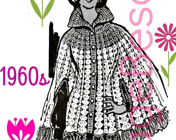 CAPE Crochet Pattern • 1960s Mail Order • Vintage Crochet Pattern Retro Buttoned Cape Collar Arm Slits Fringe Women • Watermarked PDF Only