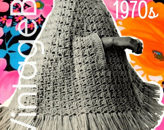 Cape Crochet PATTERN • Vintage 1970s Big SWiNG CAPE • Arm Slits • Shawl Poncho Fringe Shell Stitch Cape Boho Hippie • Watermarked PDF Only