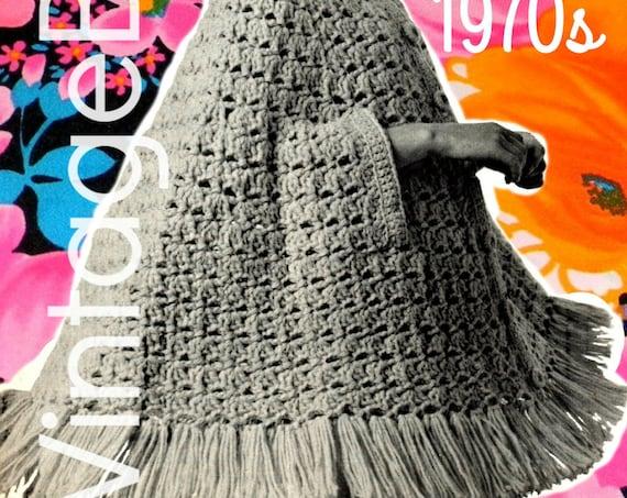 Cape Crochet Pattern Retro 1970s The Big Swing Cape vintage crochet pattern jacket coat fringe • Watermarked PDF Only