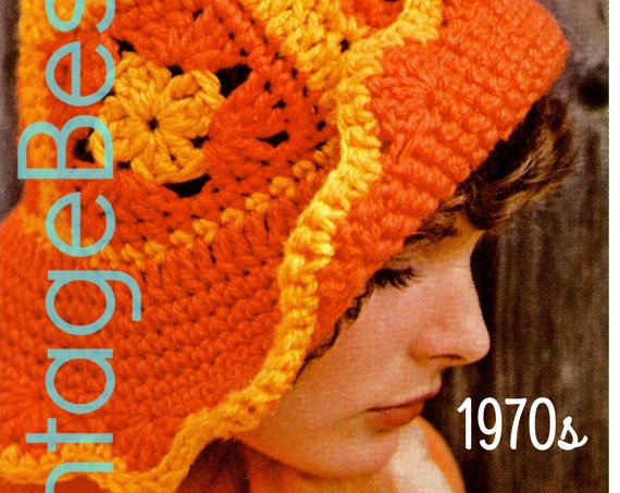 EASY Hat Crochet Pattern 1970s • Beach Hat • Granny Square Floppy Hat Brimmed Cap Quick Sunhat Greta Garbo • Watermarked PDF Only