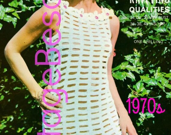 Flower Dress Crochet Pattern • 1960s Vintage Groovy Party Dress • Bathing Suit Cover Up Crochet Pattern • Summer Wear • Instant PDF Pattern