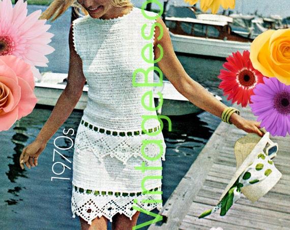 Crochet Dress Pattern Vintage • Women's Tiered Dress • Romantic Dress Pattern • Summer Wedding Dress • Sleeveless • Watermarked PDF Only