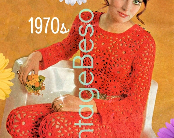 Dress and Pantsuit Crochet Pattern • 1970s Vintage Crochet Pattern • Top Pattern • Sexy Boho Flower Clothing • Watermarked PDF Only