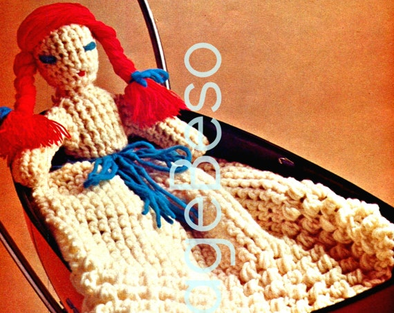 INSTANT DOWNlOAD • PdF Pattern • DOLL CROCHET Pattern • 1970s Day Night Doll Nursery Soft Toy Playschool cute 4 bed super quick easy fun