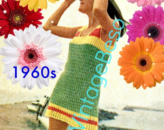 EASY Dress Crochet Pattern • Shift Dress • Beach Dress • Vintage 1960s • Retro Ladies Summer Dress Pattern • Watermarked PDF Only