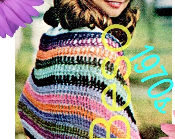 Easy Shawl CROCHET Pattern • Vintage 1970s Crochet Pattern • Watermarked PDF Only