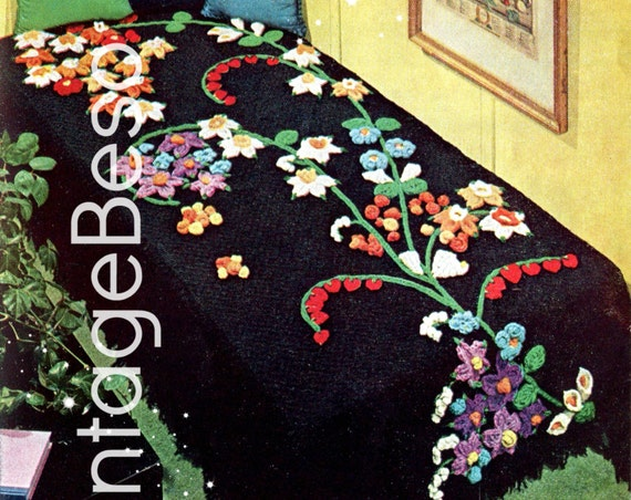 Bedspread CROCHET Pattern • Boho 1960s • Gorgeous Flowers • Afghan Pattern • Blanket Cover Cala Lily of the Valley • Watermarked PDF Only