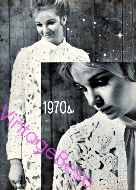 Flower Coat CROCHET Pattern 1970s • Flower Vintage Crochet Pattern • Romantic Wedding Dress Coat • Vintage Beso • Watermarked PDF Only