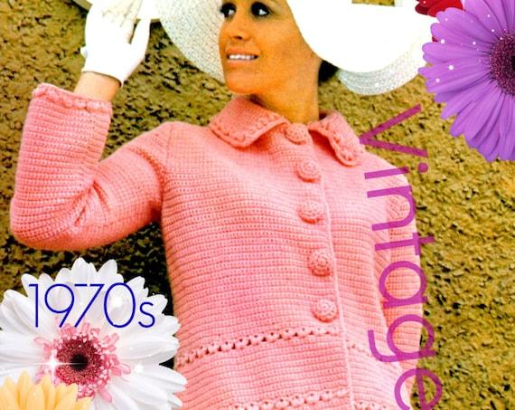 Coat Crochet Pattern • 1970s Pink Coat • Vintage Crochet Pattern • Retro Ladies Jacket Pattern • Instant Download • PdF Pattern • Digital