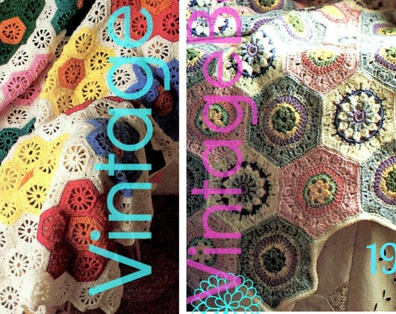 2 EASY Afghan Crochet PatternS • Flower Garden Afghan • Retro • Pastel Octagon Hexagon • Boho • Vintage • Watermarked PDF Only