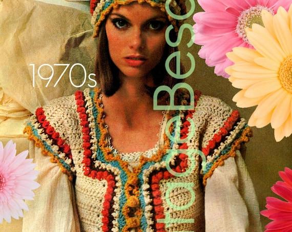 Bohemian Vest + Cap Crochet Pattern • 1970s Boho Hat Bohemian Cap • Vintage Nomadic Corslet Vest Pattern • Watermarked PDF Only