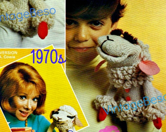 "INSTANT Download • PDF Pattern 1970s ""Lamb Chop"" Knitting Pattern Version + Crochet Pattern UK Version Hand Puppets 2015 Year of Sheep Toy"
