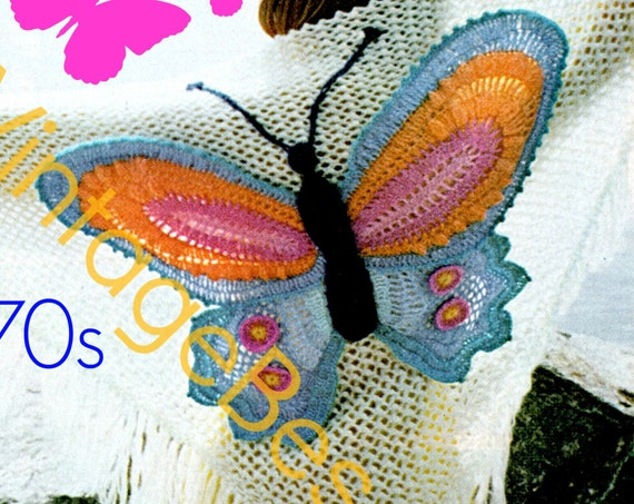 Butterfly Shawl CROCHET PATTERN • Instant Download • PDF Pattern • 1970s Boho Bohemian Clothing • Vintage Crochet Pattern • Digital Download