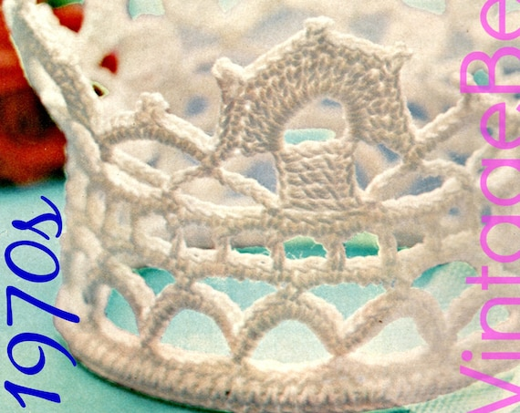 Retro Tiara Crochet Pattern Baby Tiara or Baby Crown Crochet Pattern 1970s Baby Crown photo shoot Wedding Gift for Guests Instant Download