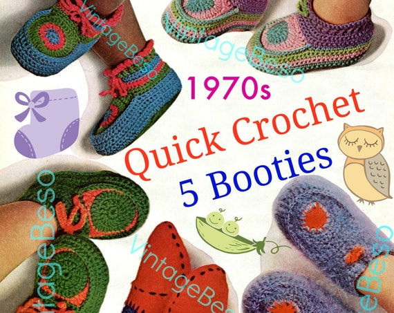 Baby Shoes Crochet Pattern • Quick Crochet Bootee Bonanza • Vintage 1970s Five Different Pairs of Baby Booties Instant Download PdF Pattern