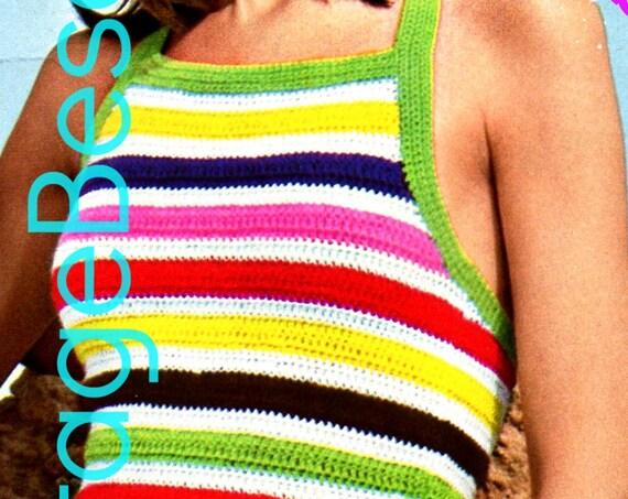 INSTANT DOWNLOAD PDF • Vintage 1970s Striped Halter Crochet Pattern • PdF Pattern • Ladies Sleeveless Top • Womens Crochet Pattern • Digital