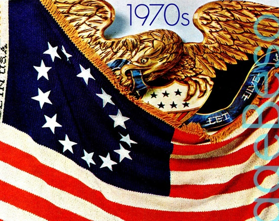 American AFGHAN Knitting PATTERN • Vintage 1970s Flag Day Bicentennial Inspired American Revolutionary Flag Patriotic • Watermarked PDF Only