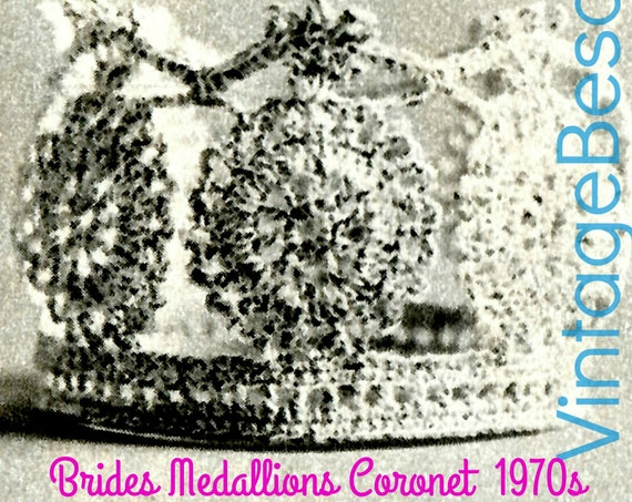 1970s Brides Medallions Coronet Vintage Crochet Pattern Tiara Crown Wedding Keepsake Cupcake Topper + FRee PAttERN • Watermarked PDF Only