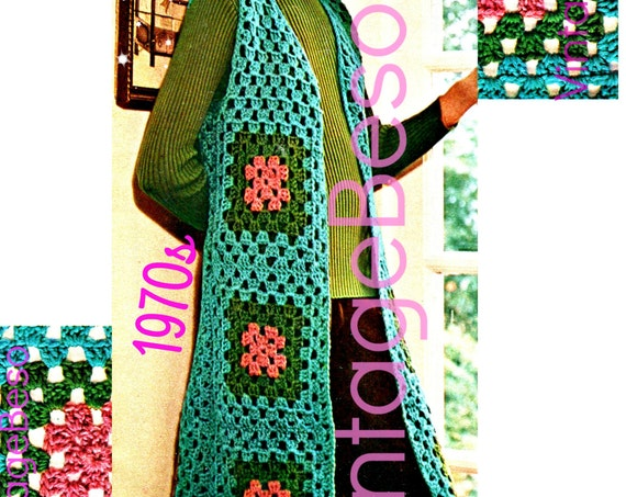 LONG VEST Crochet Pattern • Vintage 1970s • Granny Square Vest • Lightweight • Boho Easy Quick Fun • Jacket • Watermarked PDF Only