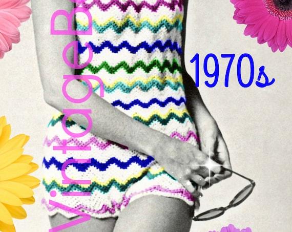 Romper CROCHET PATTERN • INSTANT DOWNlOAD • PdF Pattern •  Vintage 1970s • Bathing Suit Hippie Play Suit Pattern Retro Beach Cover Swim Suit