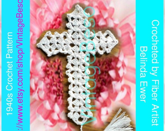 2 Patterns 1940s Bible Bookmark Crochet Pattern Crucifix Crochet PATTERN Vintage Jesus Book Mark Reason for the Season PdF Pattern