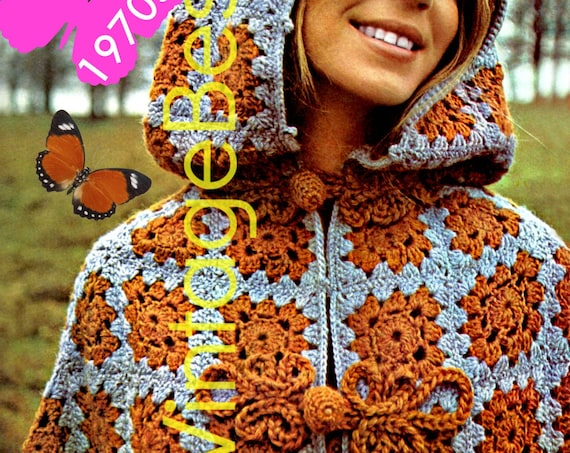Killarney Cloaks • Vintage 1970s Hooded Cloaks Crochet Pattern • Capes for Mother Daughter • Cloak • Coat • Jacket • Watermarked PDF Only
