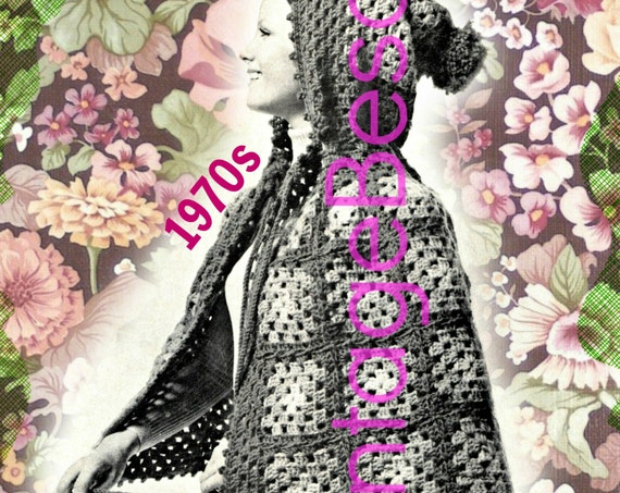 Cape Crochet Pattern • Vintage 70s EASY Hooded Granny Square Cape Crochet Pattern Feminine Cape Any Length • INSTANT DOWNlOAD • PdF Pattern