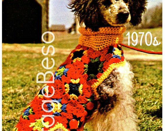 EASY Dog Coat Crochet Pattern • Vintage 1970s Granny Square Putting on the Dog Jacket Sweater Pattern Puppy Coat • Watermarked PDF Only
