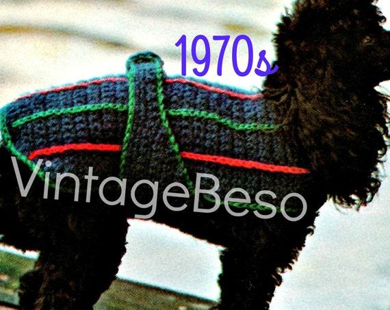 Dog Coat Crochet Pattern • Vintage 1970s Sporty Dog Sweater Crochet • PATTERN PDF Pattern • INSTANT Download • Dog Coat Crochet Pattern
