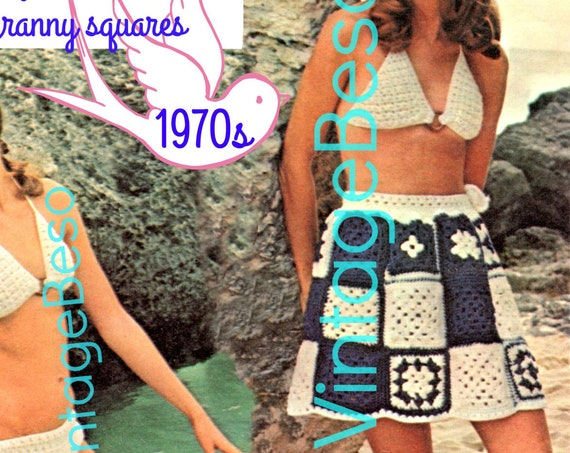 3 Crochet Patterns include Bikini Top and Bottom Wooden Rings with Granny Square Skirt Vintage 1970s • Watermarked PDF Only