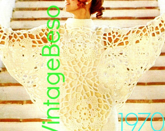 Sexy Butterfly PONCHO • Flower Crochet Pattern • Vintage 1970s Lace Bedspread • Privacy Window Free Gift • Watermarked PDF Only