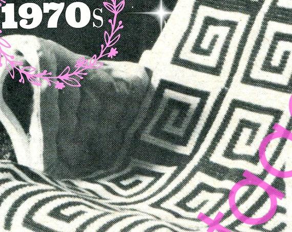 Greek Key Afghan Crochet PATTERN • 1970s Vintage Afghan Pattern • Blanket • Coverlet • Lapgan • Home Decor • Motifs • Watermarked PDF Only