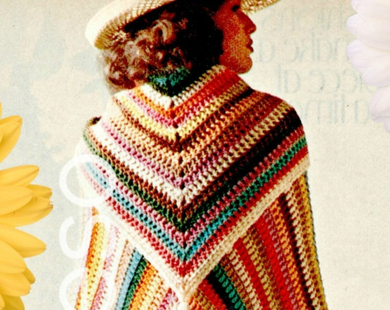 3 Patterns • 1970s Granny Square Cape Afghan Triangle Scarf tassel Sleeveless Top • Vintage Crochet Pattern • Watermarked PDF Only