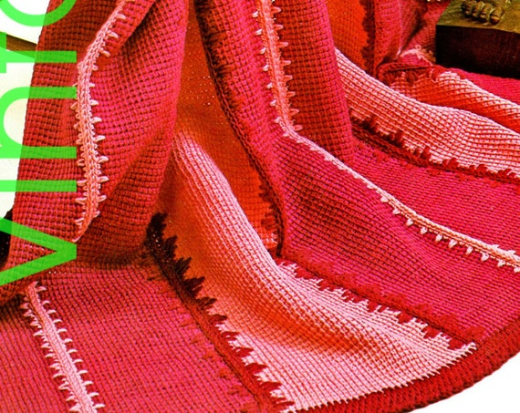 Afghan Crochet Pattern • 1970s Vintage Sonata Afghan Stitch Afghan • PDF • Retro Valentine's Day Afghan • Instant • PDF Only