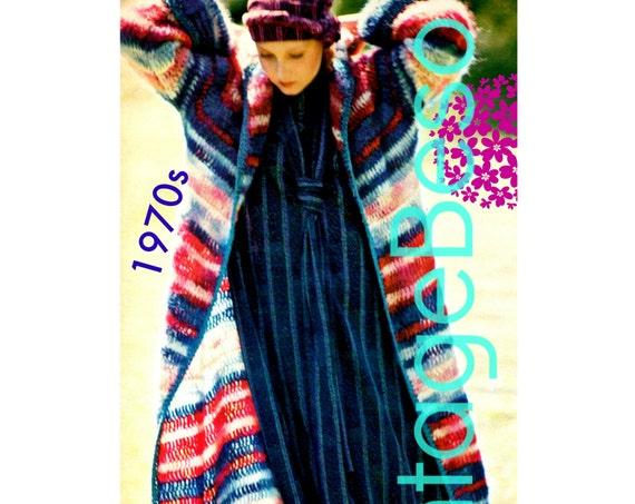 Long Coat Crochet Pattern Vintage 1970s • Seasonal Striped Coat Mohair • Sweater Crochet Pattern • Ladies Top • Watermarked PDF Only