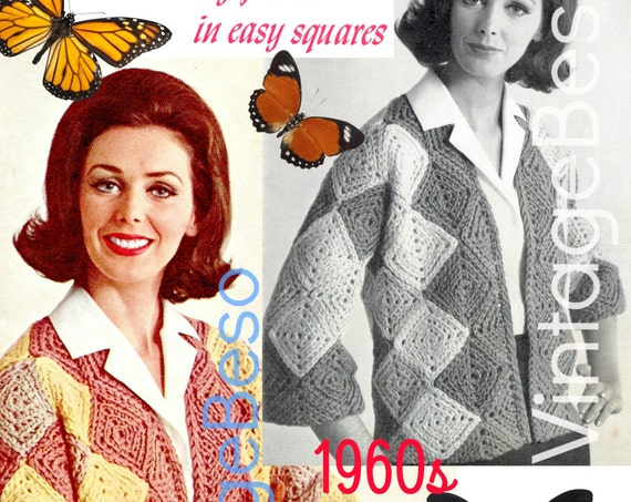 EASY Jacket CROCHET Pattern • Squares Jacket Crochet Pattern Instant Download PdF Pattern Vintage 1960s Crochet Pattern Granny Square Style