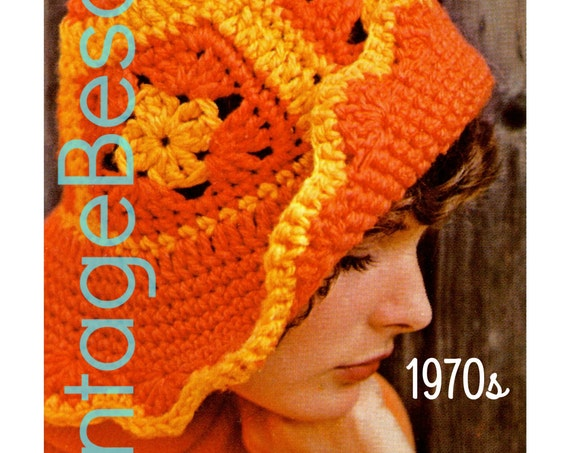 EASY Hat Crochet Pattern Vintage 70s Granny Square Beach Floppy Brimmed Quick Sunhat Greta Garbo Style Cap • Watermarked PDF Only