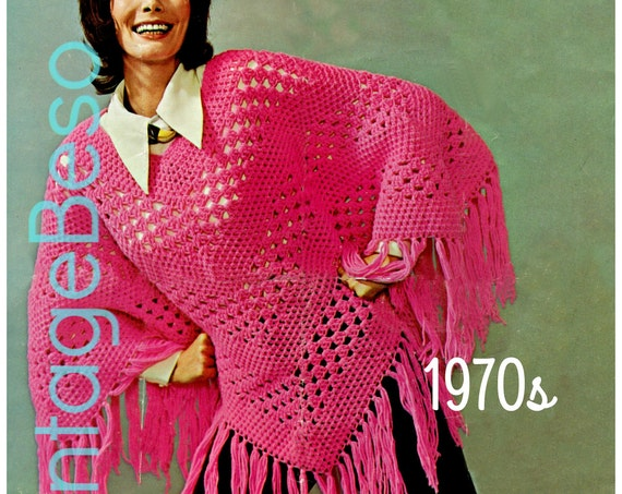 Poncho CROCHET Pattern • Vtg 70s Groovy Poncho Pattern • Ladies Summer Wear • Lightweight Jacket Hippie • Boho • Chic • Watermarked PDF Only