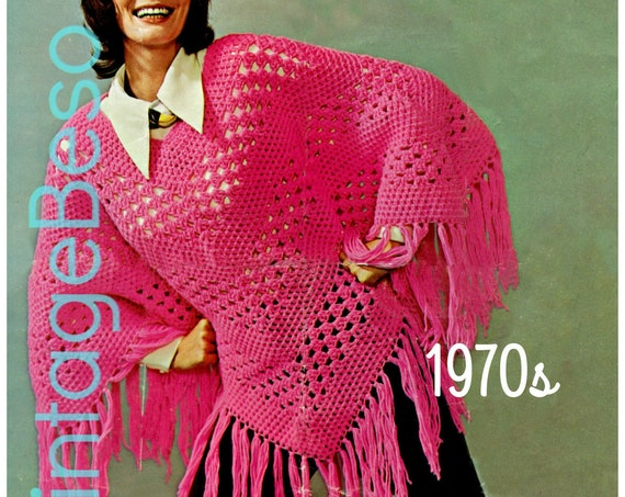 Poncho Crochet Pattern • Vintage 1970s • Stripes with Fun Peekaboo Stripes • Lovely Long Fringe • Popover • USA Terms • Watermarked PDF Only