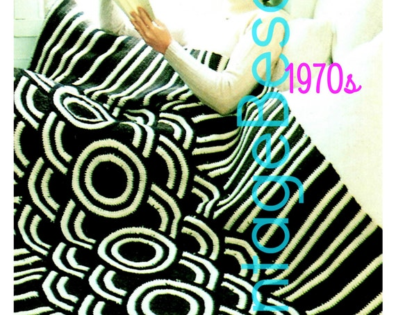 Afghan Crochet PATTERN • Vintage 1970 • Mod Style • Galaxy Afghan Crochet Pattern surprisingly easy to create Instant Download PDF Pattern