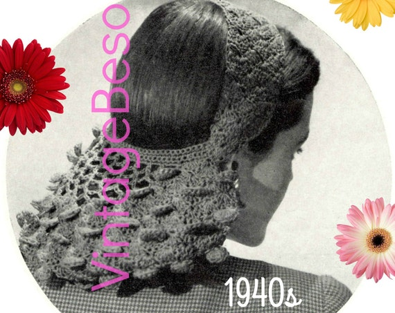 Snood Crochet Pattern Vintage 1940s • Petal Snood • WW II Bomb Girl Beauty Film Noir Vintage Crochet Pattern Hat  Headband Hairband Hair Net