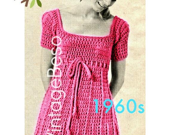 Dress Crochet Pattern • Sweet Summery Sassy 1960s Vintage Petal Bottom Empire Dress Pattern • Lunch Date • Festival • Watermarked PDF Only